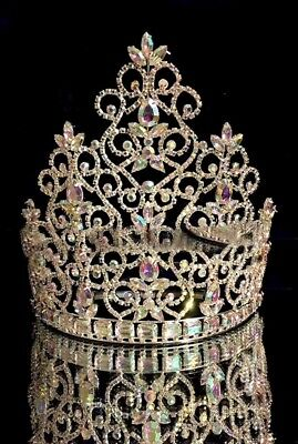 """Large Rhinestone Pageant Crown -8.5"""" tiara beauty pageant drag queen"""