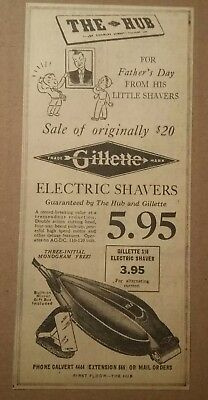 1941 The Hub Gillette S10 Electric Shaver Ad For Fathers Day