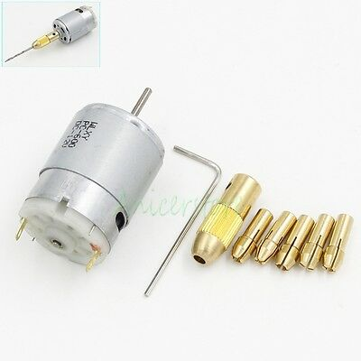 5X Motor 12V 0.5mm-2.5mm Collets Electric Drill Bit Micro Grinder Chuck DIY Set
