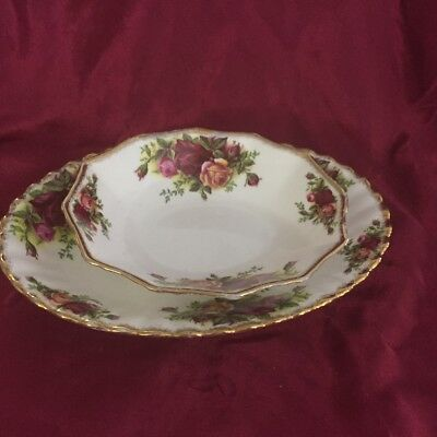 "Royal Albert's ""Old Country Roses"" Bone China, Two Oval Pieces~"