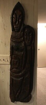 """Witco 48"""" Tiki Large Carved Wood Sculpture Wall Hanging Family Midcentury Modern"""
