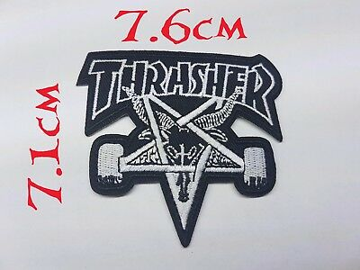 Quality Iron/Sew on Thrasher skater biker patches patch cut old school skate