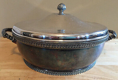Vintage Quadruple Silverplate Wilcox Covered Serving Bowl Aesthetic Movement Era