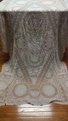 "Antique Normandy lace tablecloth bedspred tambour 96""×62"""