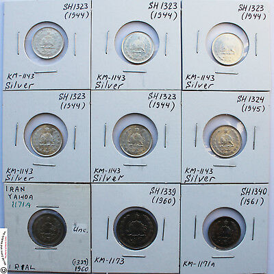IRAN 1944-1992 OUTSTANDING LOT OF 53 COINS IN 2x2. SOME SILVER. CAT. VALUE=$424.