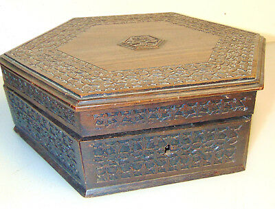 Antique Carved Wooden Octagon Box Trinket box Victorian Vintage 19th Century