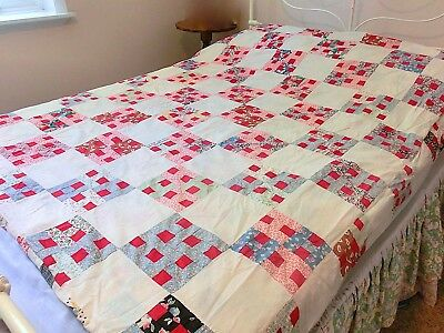 """2 Quilt Tops Stitched Together Reds Blues Patchwork 4 Patch """"H"""" Fits Double Bed"""
