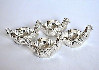 Mayell 4 Silver Plated Hen Chicken Egg Cups Made In England