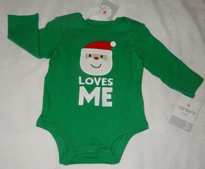Carter's Baby Boy 0-3 Months Christmas Santa Onsie Bodysuit One-Piece Green