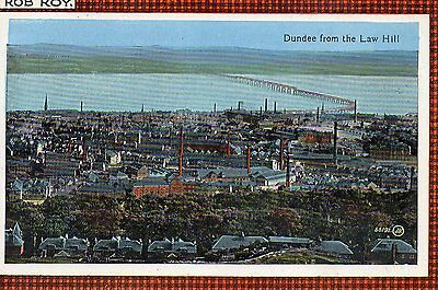 OLD VALENTINES POSTCARD 1920's -  DUNDEE TAY RAIL BRIDGE FROM LAW HILL