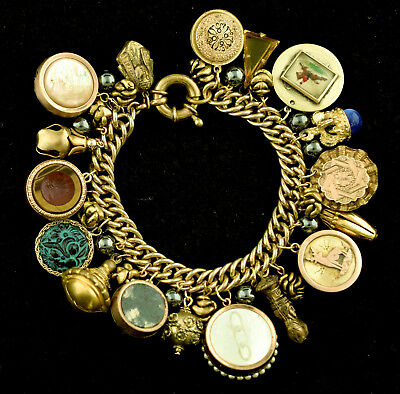 heavy vintage antique double sided fob bracelet one of a kind lot