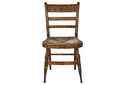 Antique Rustic Painted Chair with Rush Seat