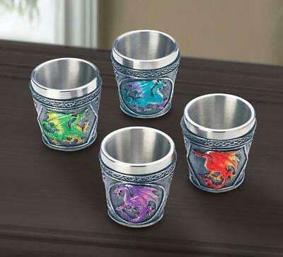 4 pc SHOT GLASS red blue purple green medieval DRAGON throne Drink cup statue