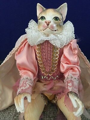 Collectible  Edwardian-Style Cat Doll Paper Mache Head, Cloth Body And Cloths