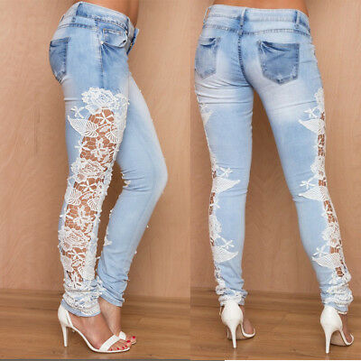 US SALE Women Crochet Lace Hollowed-out Jeans Denim Trousers Skinny Pencil Pants