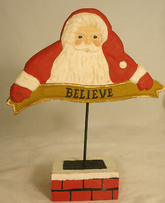 """James Haddon Carved Wood Santa on Chimney with """"Believe"""" banner 7.75"""" tall"""