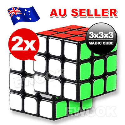2X Sydney Stock Magic Cube 3x3x3 Super Smooth Speed Rubik Puzzle Rubics Rubix