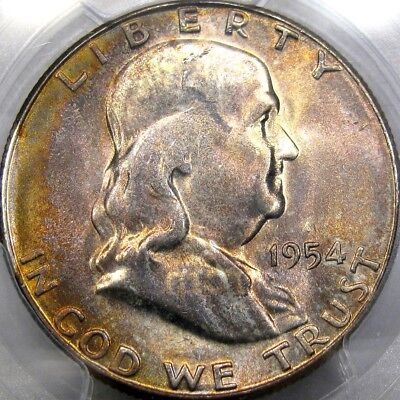 1954-S 50C Pcgs Ms65 Franklin Half Dollar ~ Lovely Apricot Toning!