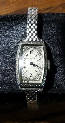 1930's Ladies Art Deco Gruen Watch 15 jewels, 14k GF, extra gold speidel band