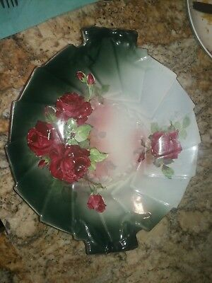 "Large Antique WP La BELLE CHINA ""ROSE BOWL"" Green Holiday Roses"