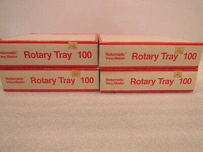 Lot of 4 View-Master Round Black Rotary Carousel Slide Trays 100 GAF Sawyer