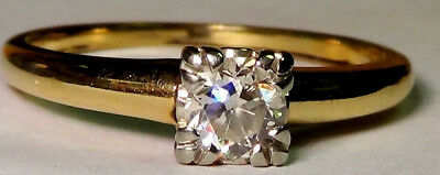 Beautiful Vintage Antique Solid 14K Yellow Gold Old Cut Diamond Ring No Reserve
