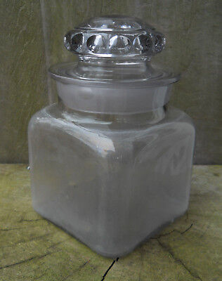 """Antique Purple Tint Glass Lidded Apothecary Druggist 7 1/4"""" Tall X 4 1/2"""" square"""