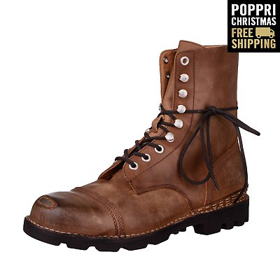 POPPRI CHRISTMAS: RRP €340 DIESEL 43 UK 9 STEEL Washed 100% Leather Combat Boots