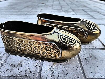 Nice Antique Chinese Pair Of Brass Shoes, Circa:1920