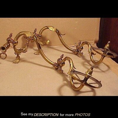 Antique 1880-90s Pair Brass Douoble Knuckle Adjusting Gas Wall Sconces