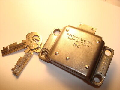 Western Electric 3 slot payphone lock  #14 vault door w/ key Original