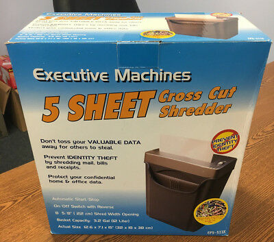 Executive  Machines 5 Sheet Cross Cut Shredder with Basket / EPS-511X -  NIB