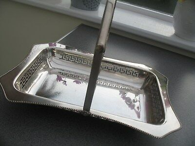 Lovely Vintage Silver Plated Pierced Basket With Handle