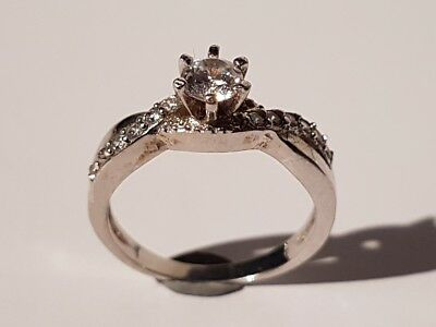 SUPERB silver/white gold tone clear stone solitaire ring. Metal detecting find