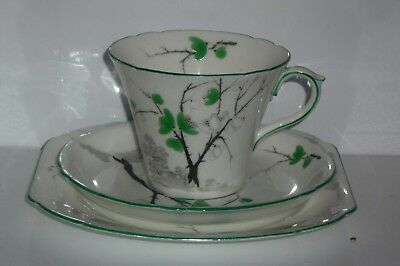 Shelley trio green leaves branches Art Deco