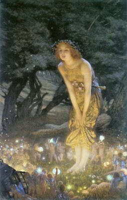 Edward Hughes Midsummers Eve Fairy Myth Poster Art Print Picture A4