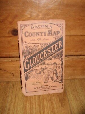 Vintage Bacon's County Map Of Gloucester