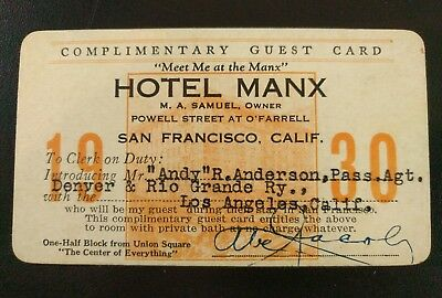 Early MANX Hotel Complimentary Guest Card - San Francisco California