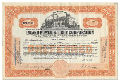 Inland Power & Light Corporation Stock Certificate (Became Part of Insull)