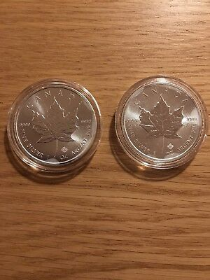 TWO 1oz 2017 Canadian Maple Silver .9999 Coins