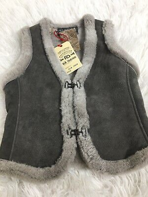 Da-Nang Shearling Gray Vest 100% Sherling Thick warm NWT $300