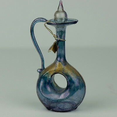 Perfume Bottle, Blue and Gold Handblown Made in Israel with Doughnut