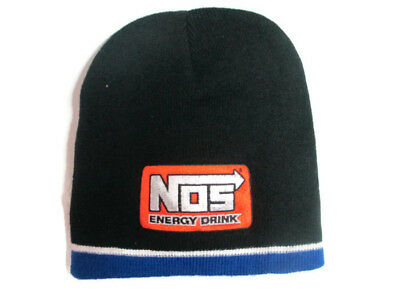 NOS Knit Beanie Black with Orange Patch And Blue Trim - BRAND NEW