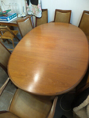 Retro Vintage Mid Century G-Plan Authentic Teak Kitchen Dining Table & 8 Chairs