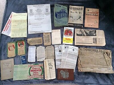 Antique Paper Advertisements HUGE Lot - Gibson, Sears Automobiles, Purina Etc