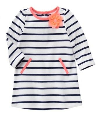 NWT Gymboree BLOOMS & BOATS Navy & White Striped Coral Dress Girls 6-12 M