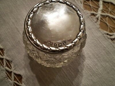 Edwardian 1906 Silver Topped Cut Glass Pot Made By Boots Pure Drug Company
