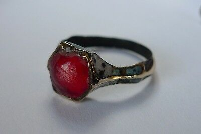 British Uk Metal Detecting Find Stunning Medieval Tudor Ladies Ring Red Stone
