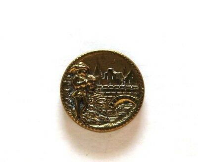 Nice Small Antique Story Button Pied Piper of Hamlin