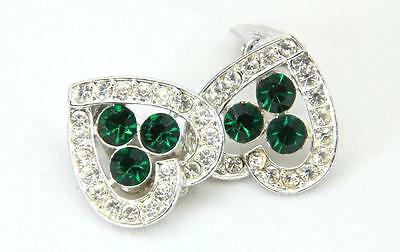 Vintage Sarah Coventry Silver Tone Green & White Rhinestone Heart Clip Earrings